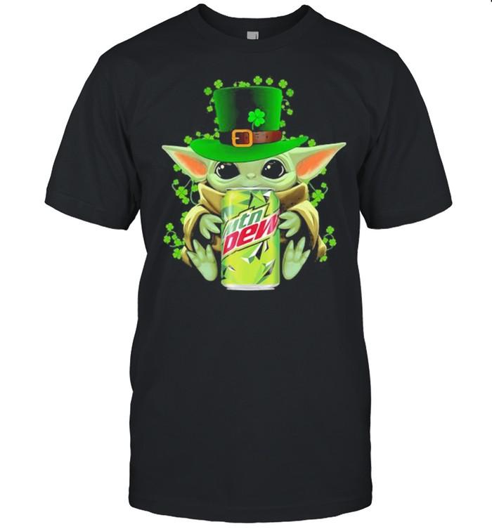 Baby Yoda Hug Mtn Dew Irish Patricks Day  Classic Men's T-shirt