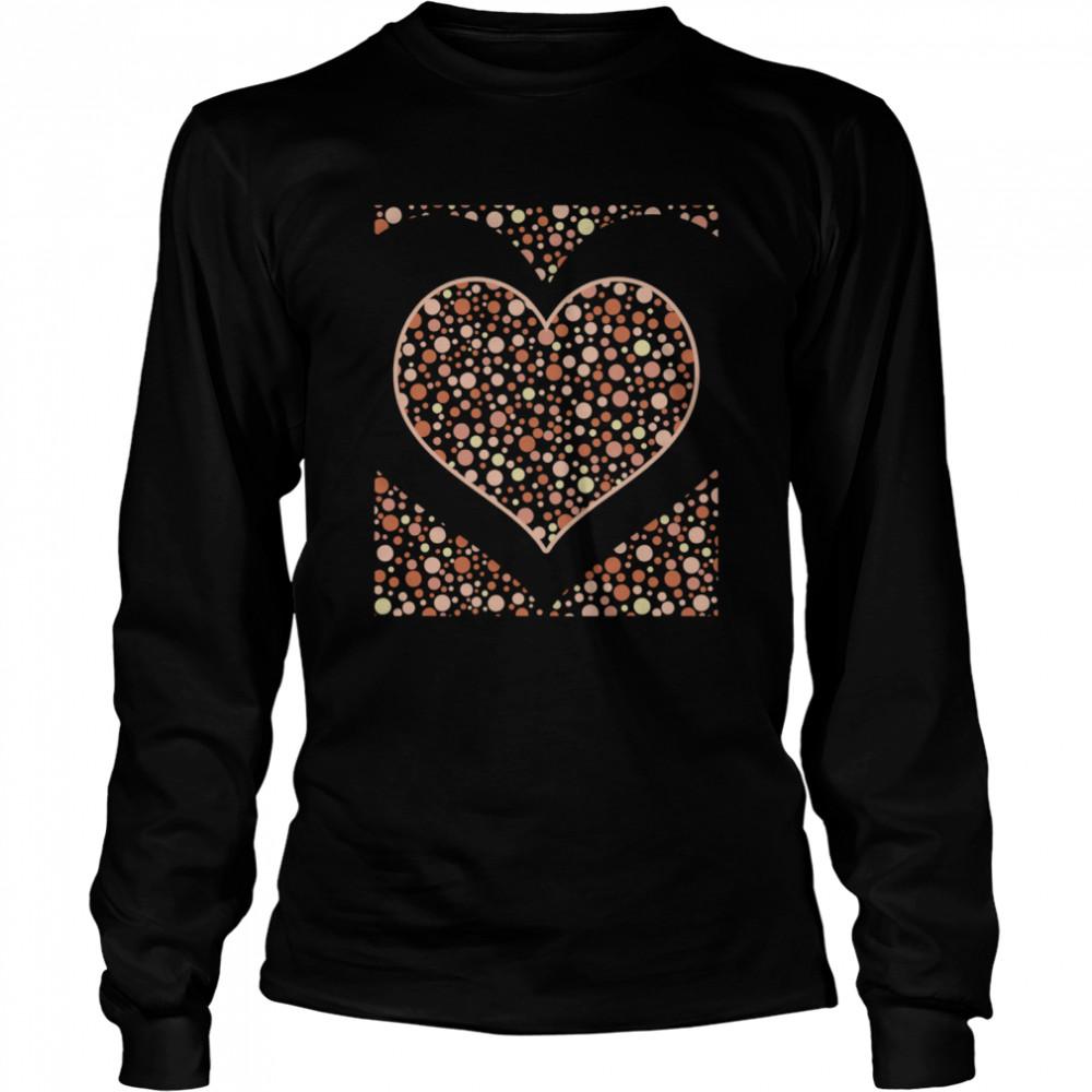 Bohemian Abstract Heart Love Polka Dots Boho  Long Sleeved T-shirt